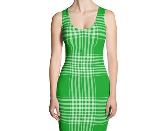 Green Plaid Cut & Sew Dress