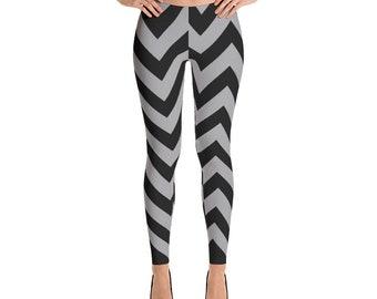 Wave Leggings - Black And Gray Leggings - Womens Leggings - Yoga Leggings - Workout Leggings - Pattern Leggings - Printed Leggings