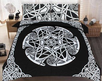 Boho Queen Size Mandala Bedding Duvet Doona Set - Black Twist