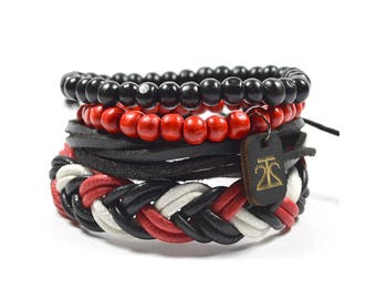 4 Pack Red/White/Black Bracelet Set