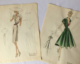 vintage collectible FASHION ILLUSTRATIONS by Edyth Sparag Studios, Inc. Lot of 2 1940-50s