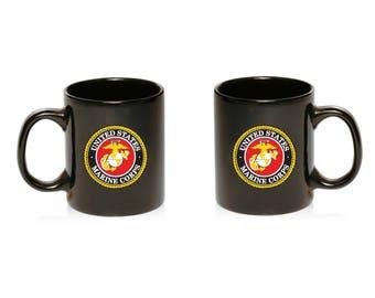 US Armed Forces Military Marines Navy Air Army Coast Guard Print Black Ceramic Mug 11oz