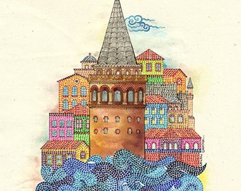 Istanbul Art Print Colorful Wall Galata Tower Living Room