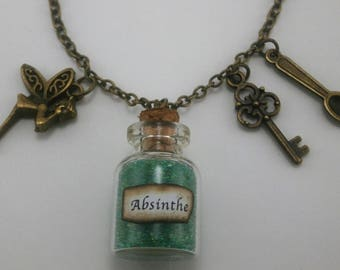 Absinthe ~ The Green Fairy Steampunk Inspired Necklace with Fairy, Key & Spoon Charms Unique Gift Idea