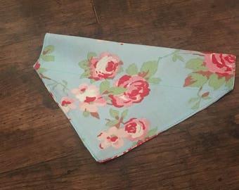 Blue floral print dog bandana