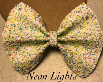 Neon Lights- Faux Leather Bow