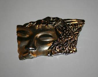 Vintage Signed JJ Woman Face Female Flower Brooch Style Silver Tone Costume Jewelry Pin Artistic