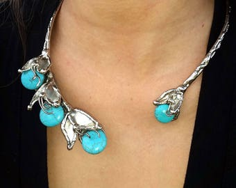 Alpaca Silver Necklace with Turquoise