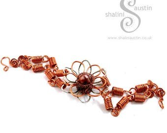 Copper Wire Hand-crafted Flower Bracelet