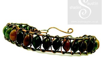 Antique Finish Indian Agate Semi-Precious Beads Bracelet with Copper Wire Weave