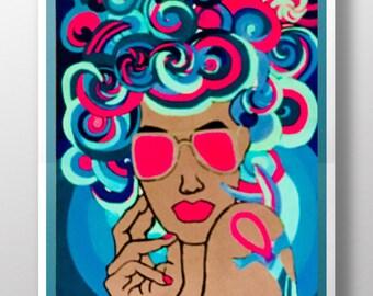 Retro blacklight acrylic painting original, retro pop painting, Psychedelic art, black art, retro wall art, black light painting