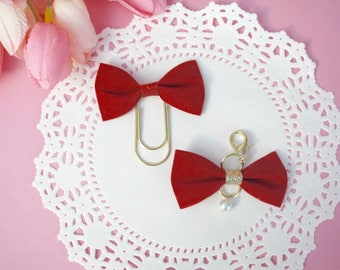 Red velvet velour Valentine's Day bow paperclips and TN bow