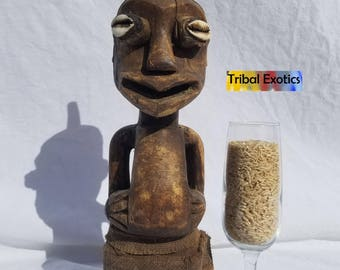 TRIBAL EXOTICS : Premium Authentic fine tribal African Art Songye Basongye Songe Power Nkisi Nkishi Fetish Wood Figure Sculpture Statue Mask