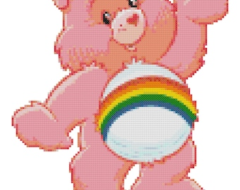 Cheer Bear Counted Cross Stitch Pattern PDF Download