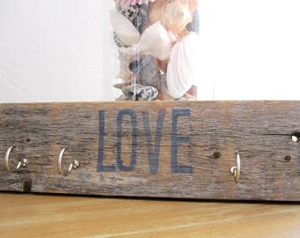 Rustic Key Rack, Reclaimed Wood Key Holder, Distressed Key Holder, Farmhouse Key Holder for Wall, Key Rack, Key Hook, Key Hanger,Beach Decor