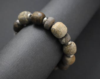 Bracelet- Unique Dinosaur bone beads