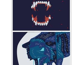 Werewolf Print Digital illustration