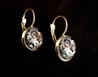 STEAMPUNK earrings solid silver backing gears cogs cosplay