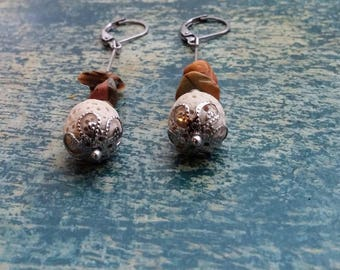 Earrings with lava stones, Jasper stones.