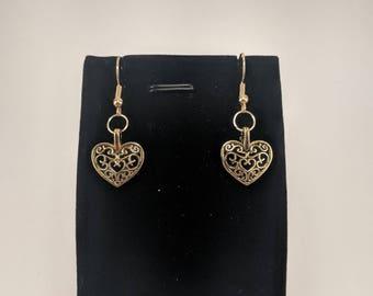 Antiqued Gold Heart Earrings, Celtic Inspired Design, brushed, unpolished gold.