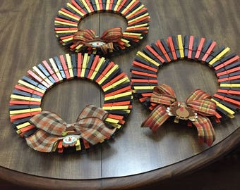 Fall Clothes Pin Wreaths