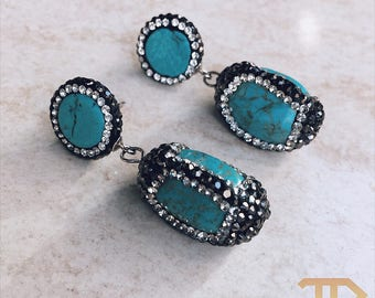 CrystalDust Aqua Earring