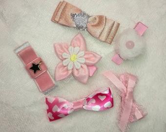 Hair Clips Set : 6pcs Pink Hair Clips Alligator Clips For Birthday Gift  Set For Girl