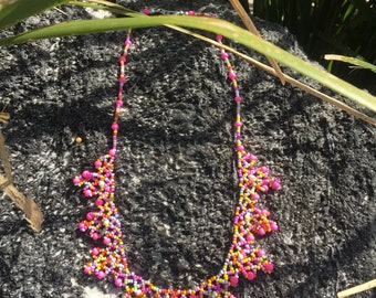 Lacey Beaded Bib Necklace