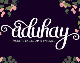 Calligraphy Font,  Swirly Font, Wedding Watercolor, Christmas font, Handwritten Script  Instant Download - Aduhay script font