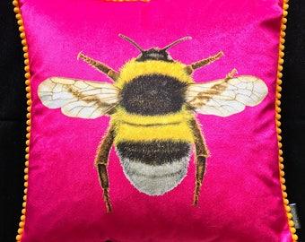 Velvet Sherbet Bumblebee Cushion
