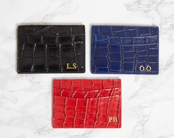 Personalised Card Holder, Credit card wallet, Customised, Croc Leather,  black, blue, red, Monogrammed initials, Double card holder, Croc