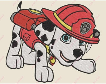 Marshall Paw Patrol 02 Filled Embroidery Design - Instant Download