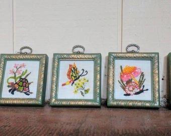 Vintage needlepoint art (set of 5)