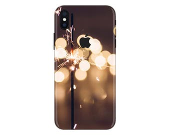 fairy light iPhone Skin sparklers iPhone decal night candle iPhone stickeriPhone 5 decal 6 iPhone x case SE 5s 6s 7s 7 plus 8 plus 10 PS-579