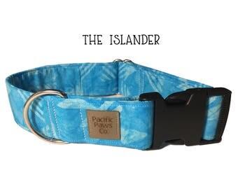 The Islander Dog Collar, tribal dog collar, tahiti dog collar, light blue dog collar, aqua dog collar, wide dog collar, turquoise dog