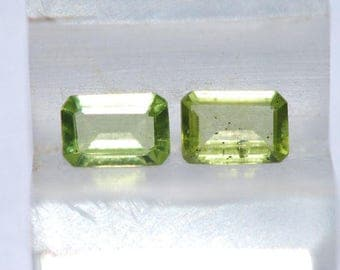 Lot of 2 Peridot, Medium Green, Faceted Emerald Cut,  5 x 7mm, 1.66ct total weight