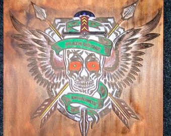 Death Before Dishonor Skull Plaque