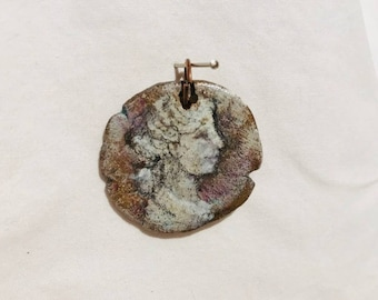 Catholic Saint pendant for good luck Catholic bronze coin painted cameo of St. Cecilia patron of Music.