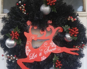 Small Christmas wreath black/red/silver