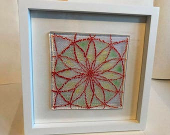 Colour flower fused glass framed