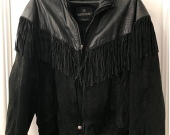 Mint Vintage Berman's 1980's Men's leather jacket with fringe