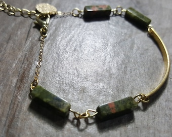 Handmade Jasper and Gold Bracelet