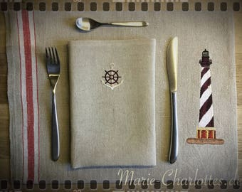 "Embroidered Placeset with napkin ""Lighthouse 2"""