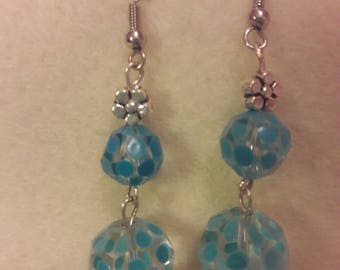 Debb-Bee's #157. Sky Blue Polka-Dot Earrings