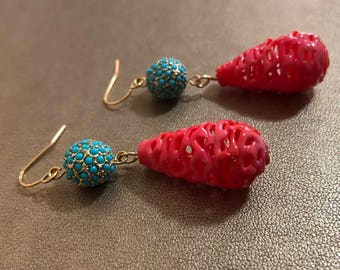 Vintage Turquoise Czech glass earrings