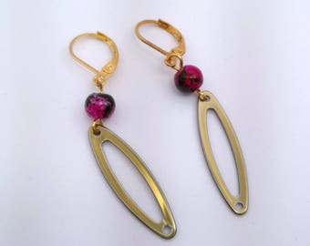 Golden ellipses and Fuchsia glass beads