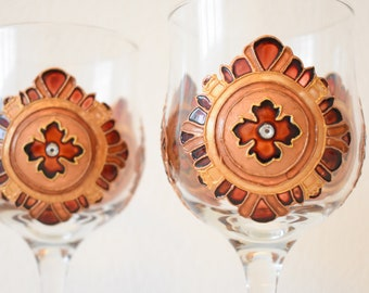 "Champagne Flutes, Wedding Toasting Glasses, ruby and silver, Royal Wedding, HAND PAINTED, Set of 2,stemwarethe, ""Chocolate order"""