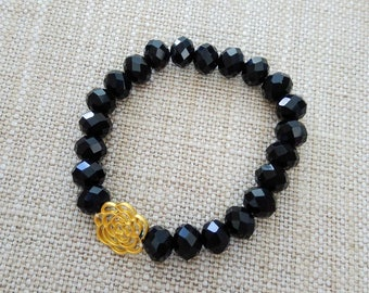 off-price - Bracelet with black stones and gold detail