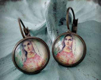 Virgin Mary Dome Earrings