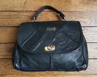 """""""Paris leather"""" 80's leather bag"""
